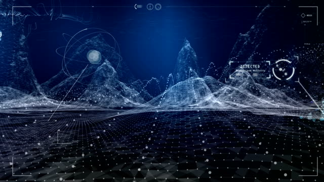 digital mountains animation. virtual reality training - data stock videos & royalty-free footage