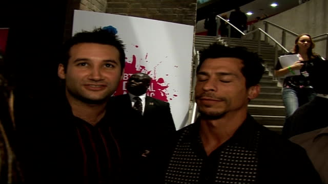 Celebrity photocalls and interviews Chris Brosnan posing for photocall on arrival at awards ceremony / Upper Street {LR} Dane Bowers Danny Wood...