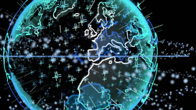 terra neon digitale con detriti spaziali rotanti - spazio vuoto video stock e b–roll