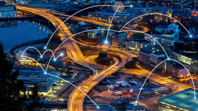 4K Digital network connection line between building over express way with traffic light at the Bergen cityscape at the sunset time, Time lapse clip, Technology and Futuristic concept
