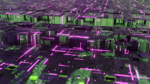 キューブネットワークコンセプトの形でデジタルオブジェクト - イーサリアム点の映像素材/bロール