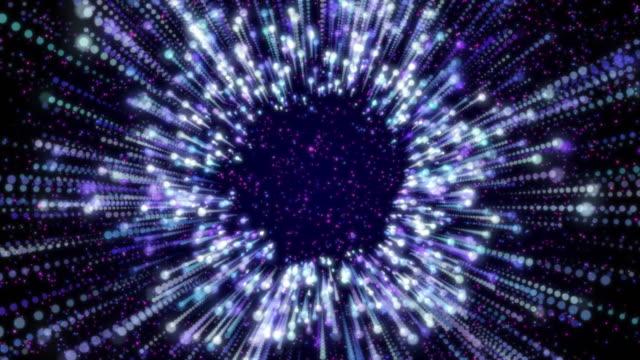 vídeos y material grabado en eventos de stock de túnel de partículas digitales que mueve fondo azul - juntar los puntos