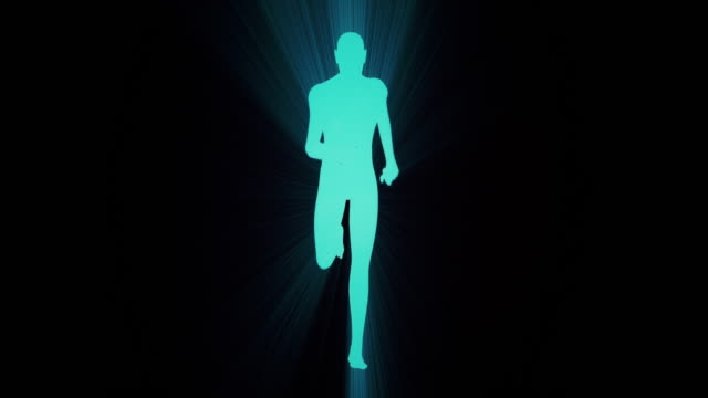 digitale ausführung silhouette mit zahlen - in silhouette stock-videos und b-roll-filmmaterial
