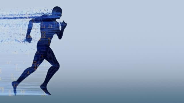 vídeos de stock, filmes e b-roll de silhueta de running digital com números - manipulação digital