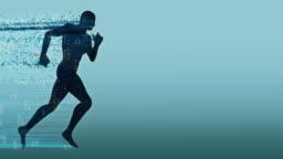 Digital Running silhouette with numbers