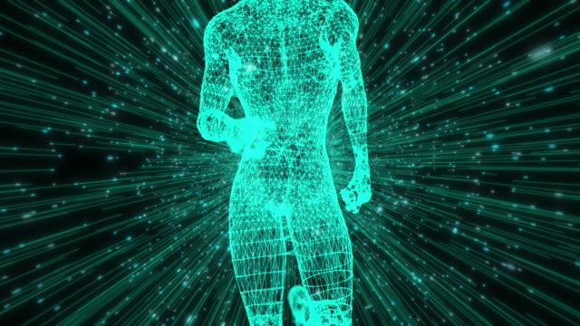 digital running wire inramad modell med hastighets linjer - blurred motion bildbanksvideor och videomaterial från bakom kulisserna