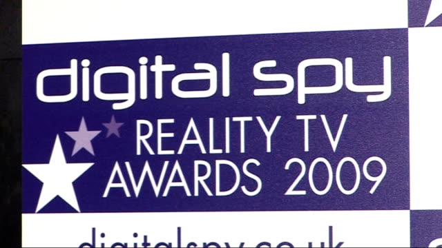 London INT Rex Newmark Close Shot of 'Digital Spy Reality TV Awards 2009' backdrop Joe Swash interview SOT awards are flattering never got nominated...
