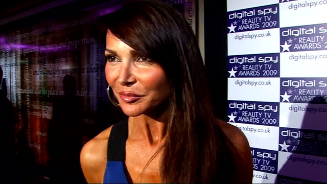 digital spy reality tv awards lizzie cundy interview sot loves reality tv we'll never get sick of reality tv on jade goody - reality fernsehen stock-videos und b-roll-filmmaterial