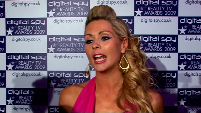 digital spy reality tv awards nicola mclean interview sot airbrushing - reality fernsehen stock-videos und b-roll-filmmaterial