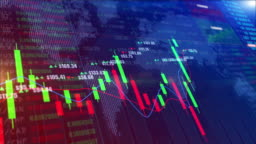 Digital stock market or forex trading graph and candlestick chart suitable for financial investment. Financial Investment trends for business background concept.