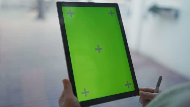 digital tablet green screen - 4k stock videos & royalty-free footage