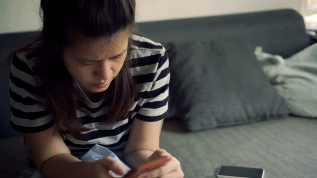 digital tablet, young woman at home. - sending stock videos & royalty-free footage