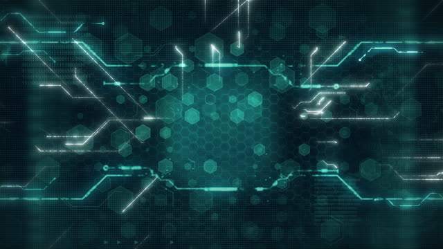 digital technology background concept with technology line light effects, circuit board futuristic processing. - plank stock videos & royalty-free footage