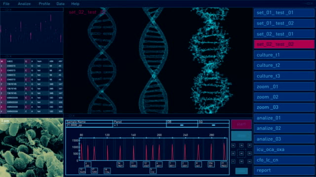 stockvideo's en b-roll-footage met gebruikersinterface voor digitale technologie. dna - dna