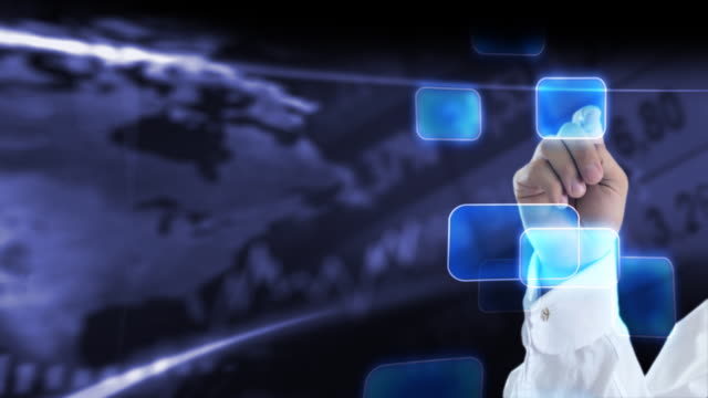 digital touch in virtual space. - 押しボタン点の映像素材/bロール