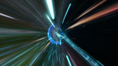 digitalen tunnel mit buntem licht. - geschwindigkeit stock-videos und b-roll-filmmaterial