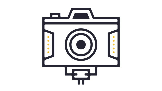 digital video line icon animation - camera photographic equipment stock videos & royalty-free footage