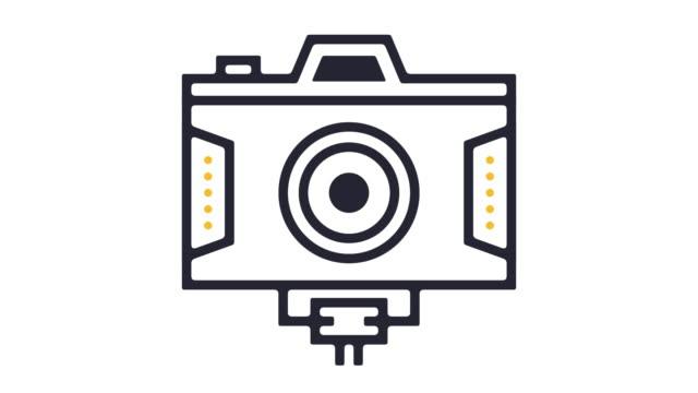 vídeos de stock, filmes e b-roll de animação do ícone de linha de vídeo digital - temas fotográficos