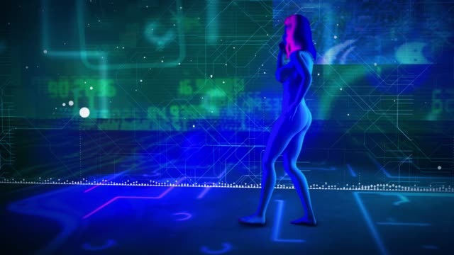 digital woman walking holograms - chest torso stock videos & royalty-free footage