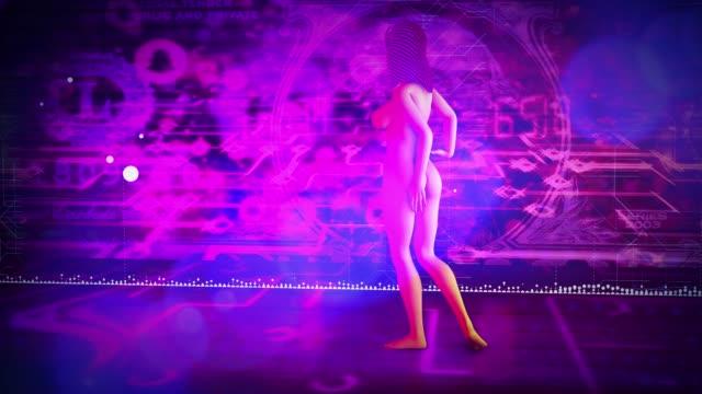 digital woman walking holograms - cyborg stock videos & royalty-free footage