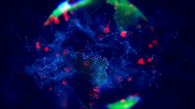 デジタル世界 80 年代スタイル - global communications点の映像素材/bロール