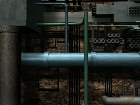 digitally animated pan right along vertical section of underground pipe infrastructure - pipe stock videos & royalty-free footage