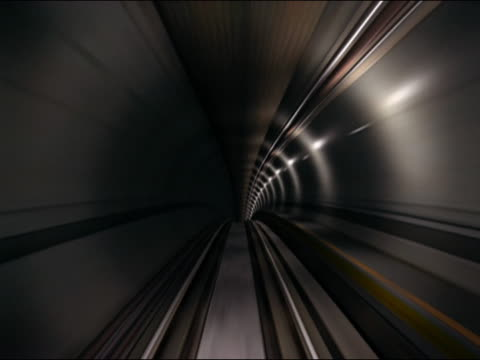 Digitally animated train point of view from front of train traveling through tunnel