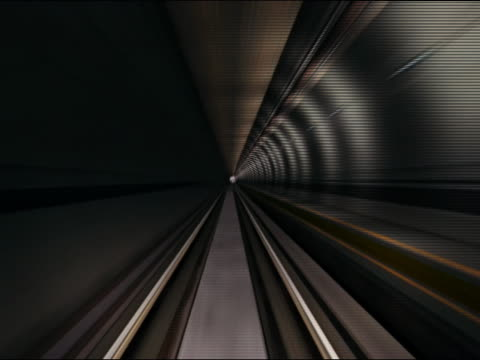 digitally animated train point of view of train approaching exit of tunnel - cgアニメ点の映像素材/bロール