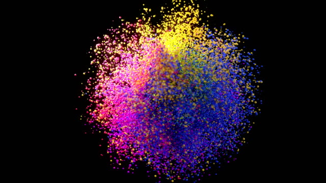 vídeos de stock e filmes b-roll de digitally generated slow motion colorful particle explosion - faísca
