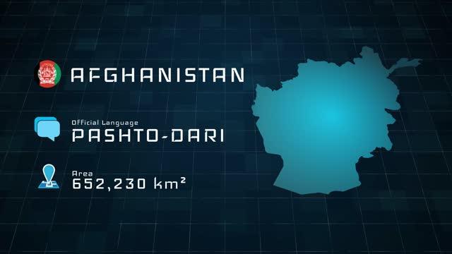 digital erstellte afghanistan-karte und länderinformationen - afghanische flagge stock-videos und b-roll-filmmaterial