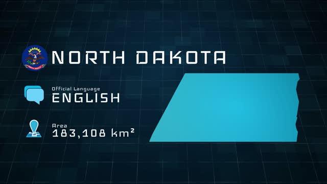 stockvideo's en b-roll-footage met digitaal opgestelde kaart van noord-dakota en landinformatie - zuid dakota