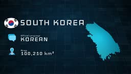 Digitally prepared South Korea map and country information