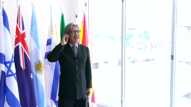 dignified and old businessman communicate with colleague on smartphone on national flag beside window - bandiera dell'argentina video stock e b–roll
