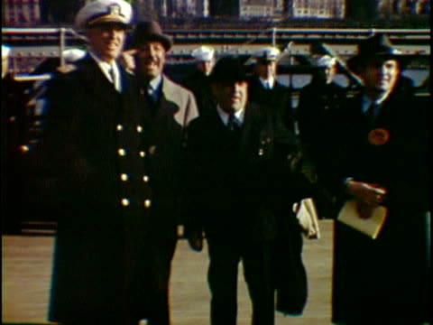 ms dignitaries and army officers standing on board of uss missouri naval vessel new york city new york state usa - uss missouri stock videos and b-roll footage