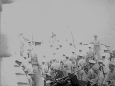W HA PAN COMPOSITE Dignitaries arriving on board of naval vessel during Japanese surrender