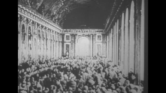 vs dignitaries in the hall of mirrors at the palace of versailles during the paris peace conference after end of world war i / note exact month/day... - 1910 1919 stock videos and b-roll footage