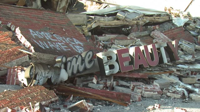 Dilapidated and collapsed buildings in Ferguson Missouri on January 20th 2015 Shots Wide and close shots of a collapsed building Close shot of a...