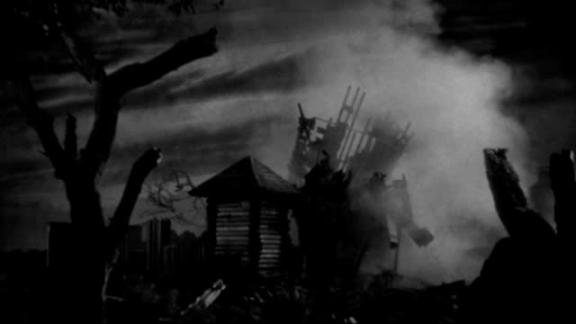 a dilapidated farmhouse explodes during an air raid. - 1933 stock videos & royalty-free footage