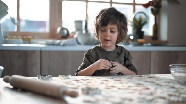 Diligent Boy Making Gingerbread Cookies