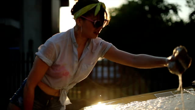 Diligent Pin-up Girl Washing Car