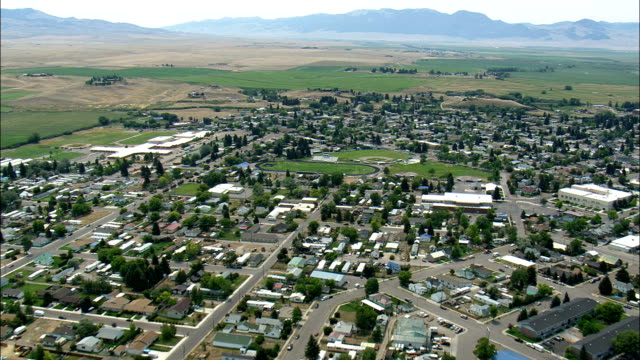 Dillon Courthouse  - Aerial View - Montana,  Beaverhead County,  helicopter filming,  aerial video,  cineflex,  establishing shot,  United States