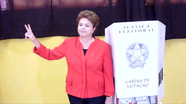 dilma rousseff presidential candidate for the ruling workers party voted at a polling station in porto alegre brazil on sunday porto alegre rio... - alegre stock-videos und b-roll-filmmaterial