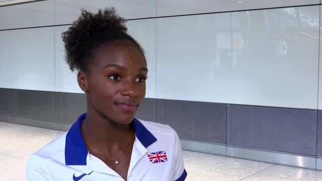 Dina AsherSmith returns after winning three gold medals at the European Championships ENGLAND London Heathrow Airport INT Great Britain athlete Dina...