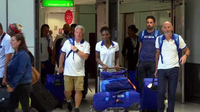 Dina AsherSmith returns after winning three gold medals at the European Championships ENGLAND London Heathrow Airport INT Various of Dina AsherSmith...