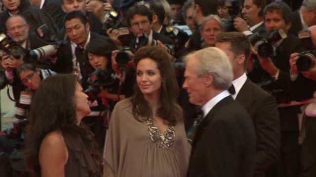 Dina Eastwood Angelina Jolie Brad Pitt and Clint Eastwood at the Cannes steps and exits for 'Changeling' in Cannes on May 20 2008