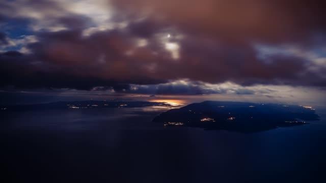 dinaric coastline, brac and hvar island under a dramatic sky, biokovo, croatia - ブラック島点の映像素材/bロール