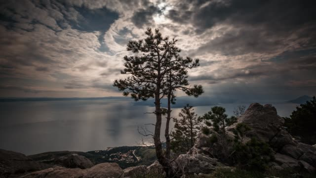 dinaric coastline, brac island under a dramatic sky, biokovo, croatia - croatia stock videos & royalty-free footage