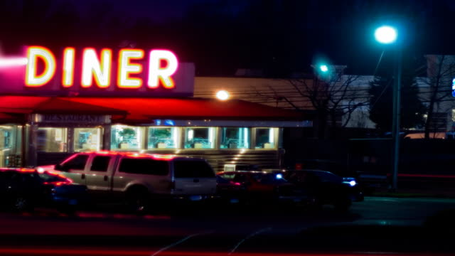 diner at dusk - american culture stock videos & royalty-free footage