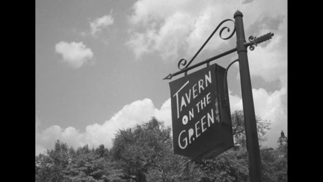diners and couples dancing at tavern on the green in park silhouette of bass player in fg / girl in swing / black man napping on grass with hat on... - woodwind instrument stock videos and b-roll footage