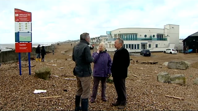 diners rescued from sea front restaurant after storm smashes the windows; england: hampshire: milford on sea: ext gv wreckage on seafront with marine... - shaky stock videos & royalty-free footage